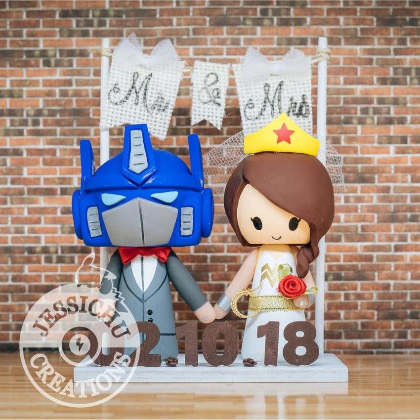 Optimus Prime and Wonder Woman Wedding Cake Topper | Transformers x DC | Jessichu Creations