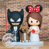 Batman & Minnie Mouse Wedding Cake Topper | DC x Disney | Jessichu Creations