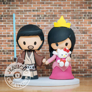 Jedi and Princess Aurora Wedding Cake Topper | Star Wars x Disney | Jessichu Creations