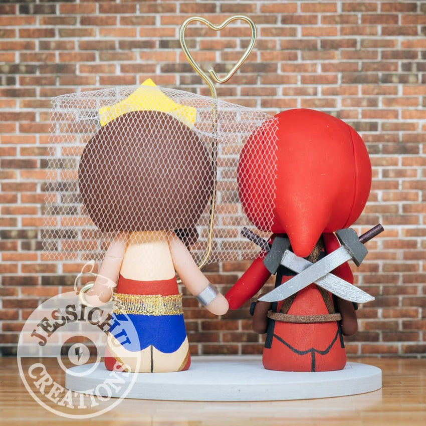 Deadpool and Wonder Woman Wedding Cake Topper | Marvel X-Men x DC | Jessichu Creations