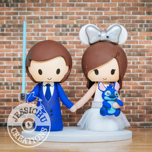 Groom and Silver Minnie Mouse Bride holding Stitch Wedding Cake Topper | Disney | Jessichu Creations