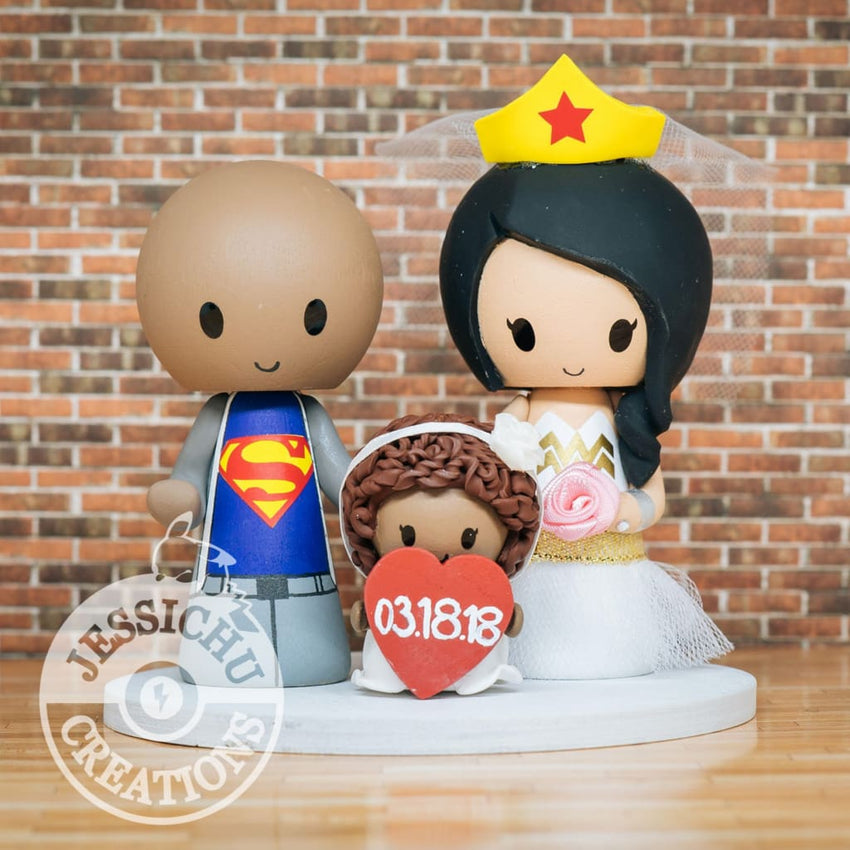Superman and Wonder Woman with Child Wedding Cake Topper | DC | Jessichu Creations