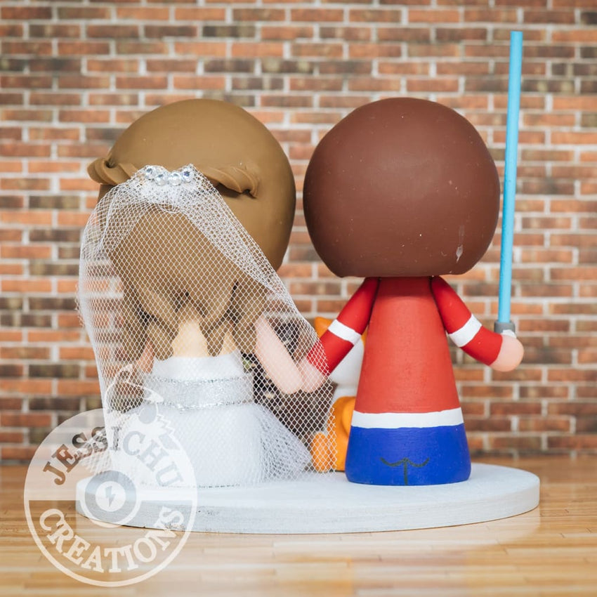 Red Wings Sports Fan and Cat Lover Bride Wedding Cake Topper | Jessichu Creations