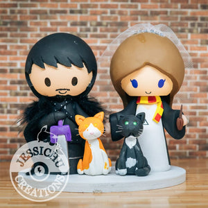 Jon Snow and Gryffindor Harry Potter Wedding Cake Topper | Game of Thrones x HP | Jessichu Creations