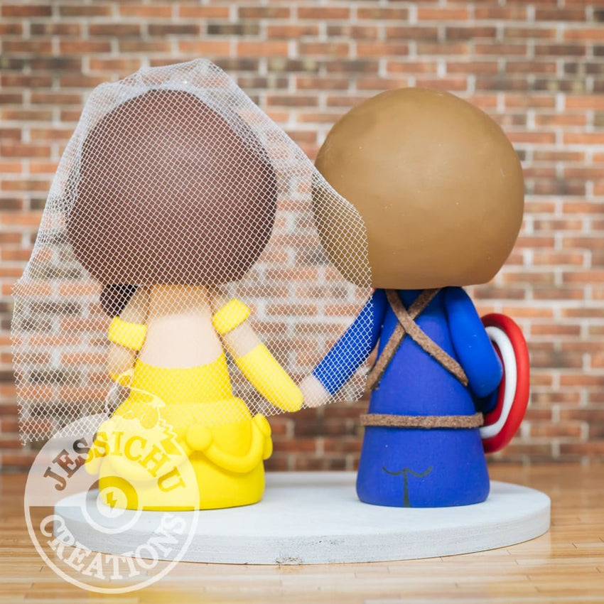 Captain America and Belle Wedding Cake Topper | Marvel x Disney | Jessichu Creations