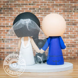 Chicago Bears Sports Fan and Pretty Bride Wedding Cake Topper | Jessichu Creations