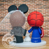 Spiderman and Slytherin Wedding Cake Topper | Marvel x Harry Potter | Jessichu Creations