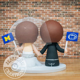 Penn State Groom and Michigan University Bride Alumni Sports Fan Custom Handmade Wedding Cake Topper | Jessichu Creations