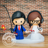 Fisherman Sports Fan and Game Lover Bride Wedding Cake Topper | Jessichu Creations