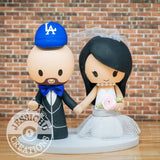 LA Angels Sports Fan and Bride with Princess and Batman Children Wedding Cake Topper | Jessichu Creations