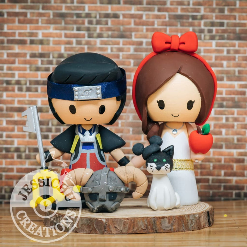 Sora and Snow White with Skyrim Helmet Wedding Cake Topper | Kingdom Hearts x Disney | Jessichu Creations