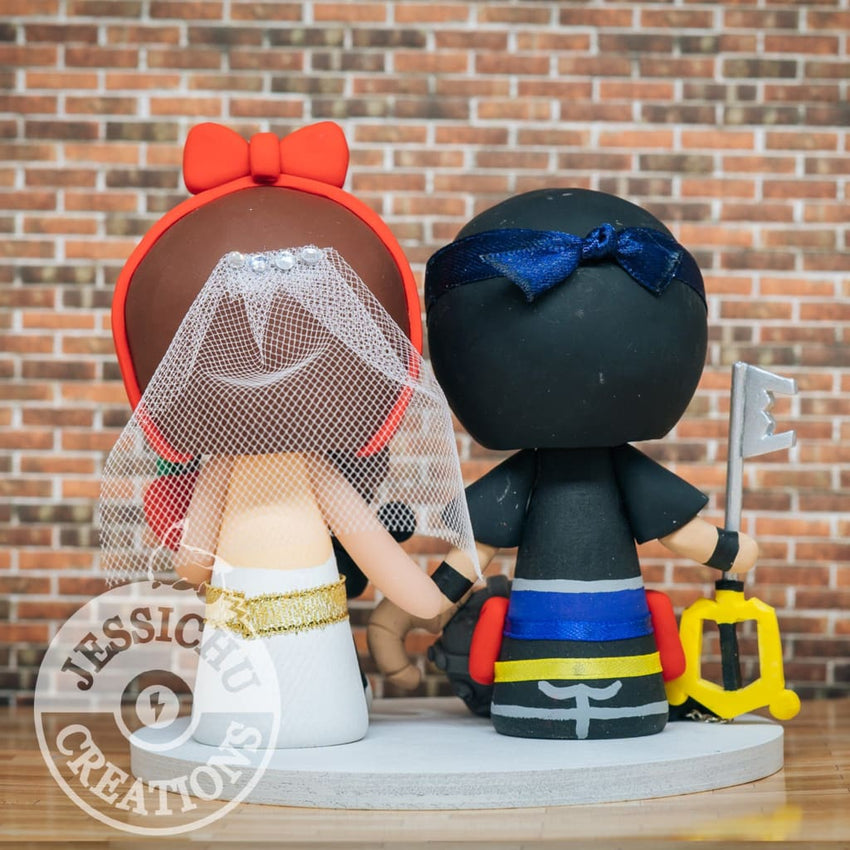 Sora Groom & Snow White Bride - Kingdom Hearts x Disney Inspired Wedding Cake Topper Cake Topper Gallery