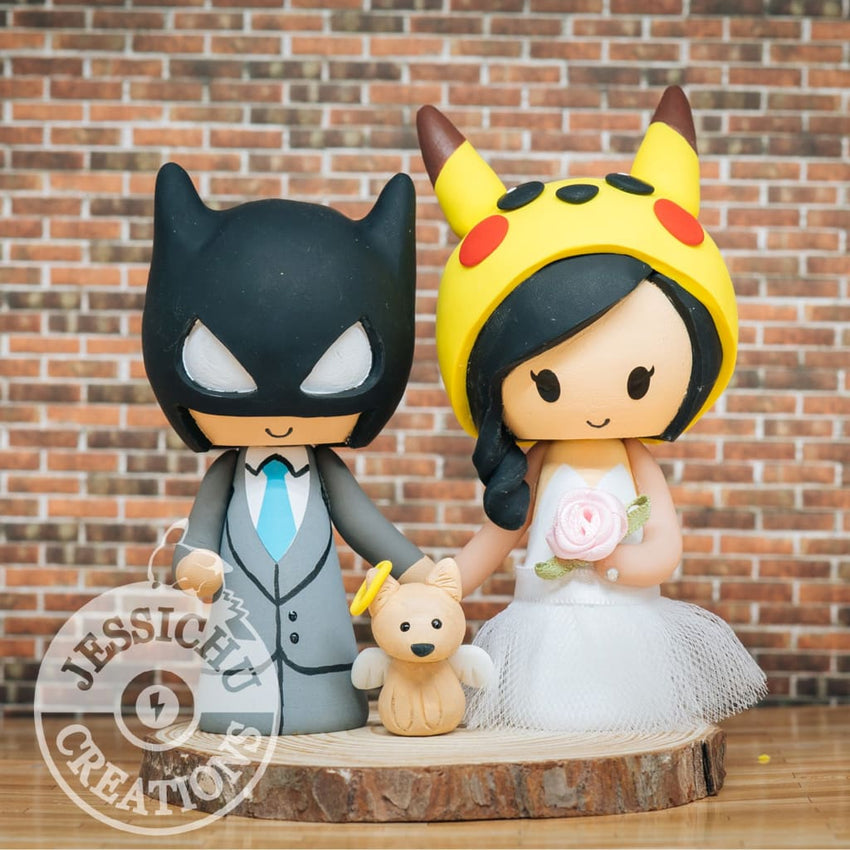 Batman and Pikachu Wedding Cake Topper | DC x Pokemon | Jessichu Creations