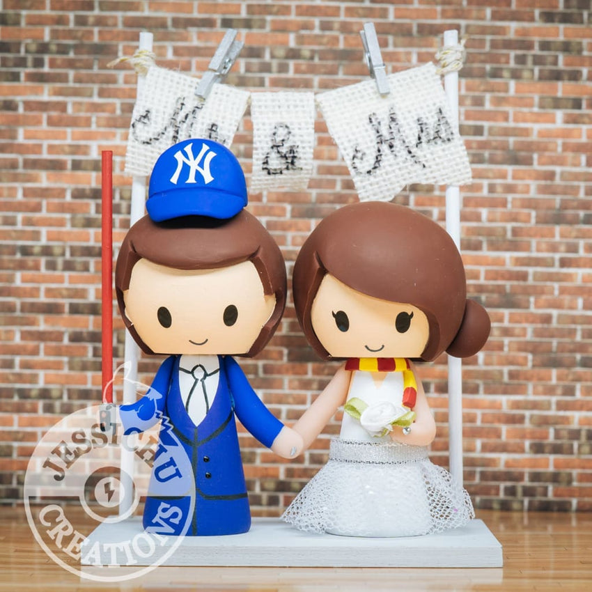 New York Yankees Sports Fan and Harry Potter Wedding Cake Topper | Sports x HP | Jessichu Creations
