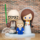 Jedi and Harry Potter with Child Wedding Cake Topper | Star Wars x HP | Jessichu Creations