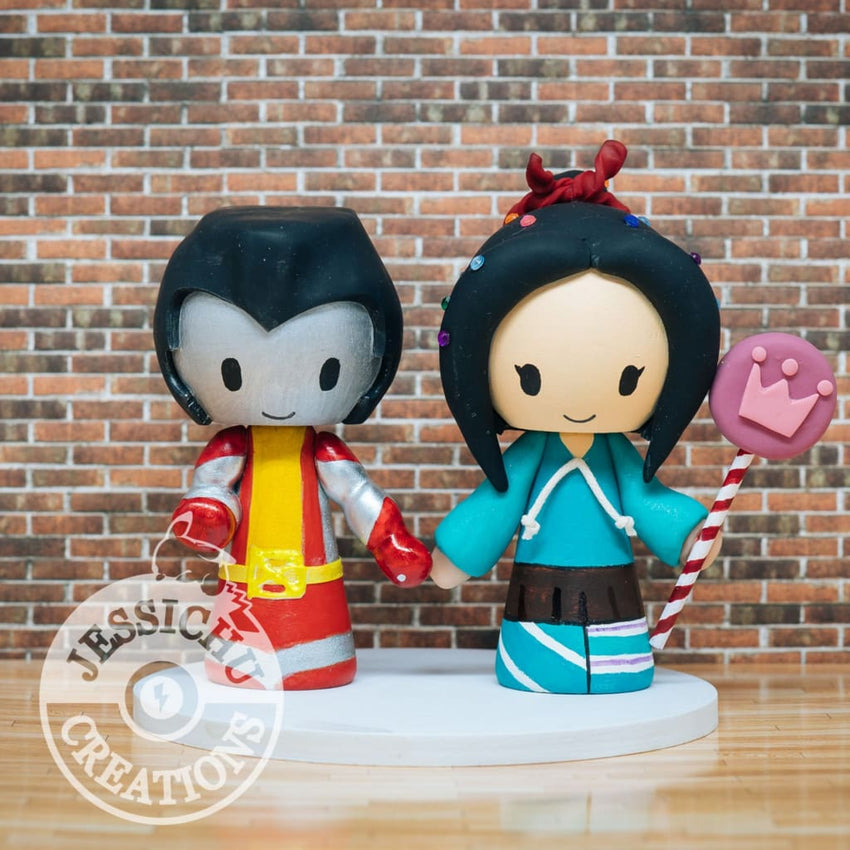 Colossus and Vanellope Von Schweetz Wedding Cake Topper | Marvel X-Men x Disney Wreck-it-Ralph | Jessichu Creations