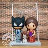 Batman and Bride in Qipao Wedding Cake Topper | DC x Marvel | Jessichu Creations