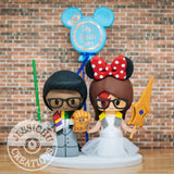 Eleventh Doctor with Thanos Inifinity Gauntlet and Minnie Mouse with She-Ra sword and David Bowie's Scar Bride Wedding Cake Topper | Dr. Who x Disney | Jessichu Creations