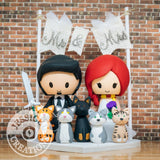 Groom holding Long sword and Irish Bride Wedding Cake Topper |Jessichu Creations