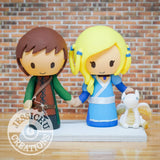 Aragorn Strider and Katara with Pet Dragon Wedding Cake Topper | LoTR x Avatar | Jessichu Creations