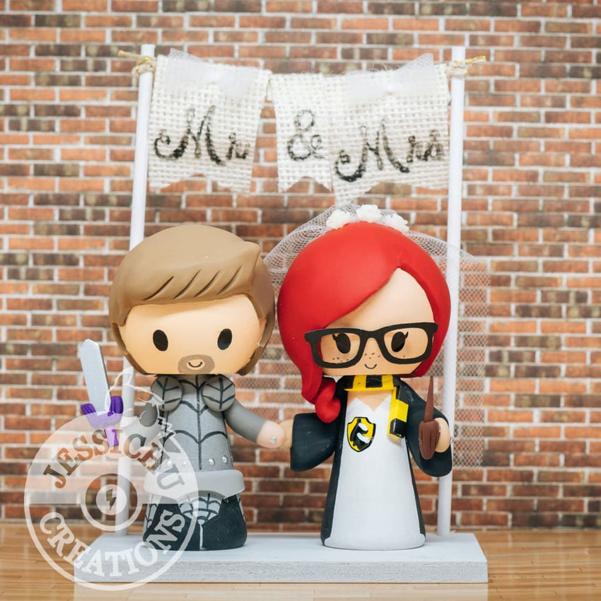 Medieval Knight and Hufflepuff Bride Wedding Cake Topper | Harry Potter | Jessichu Creations