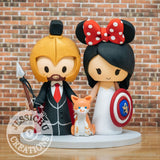 Leonidas Groom and Minnie Mouse Bride Wedding Cake Topper | 300 x Disney | Jessichu Creations