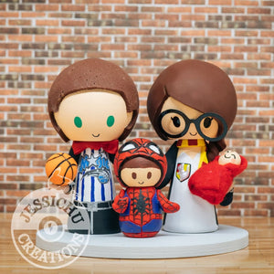 Magic Basketball Groom and Gryffindor Bride holding Harry Potter Baby with Spiderman Child Wedding Cake Topper | Star Wars x Harry Potter x Marvel | Jessichu Creations