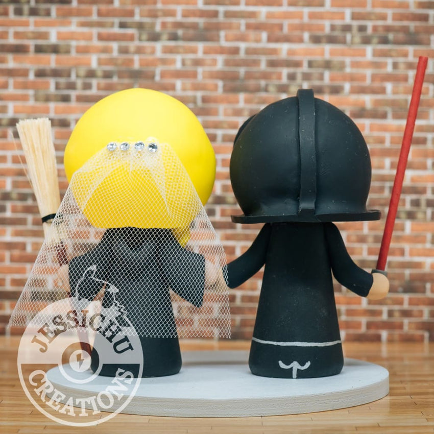Darth Vader and Gryffindor with Broomstick Wedding Cake Topper | Star Wars x Harry Potter | Jessichu Creations