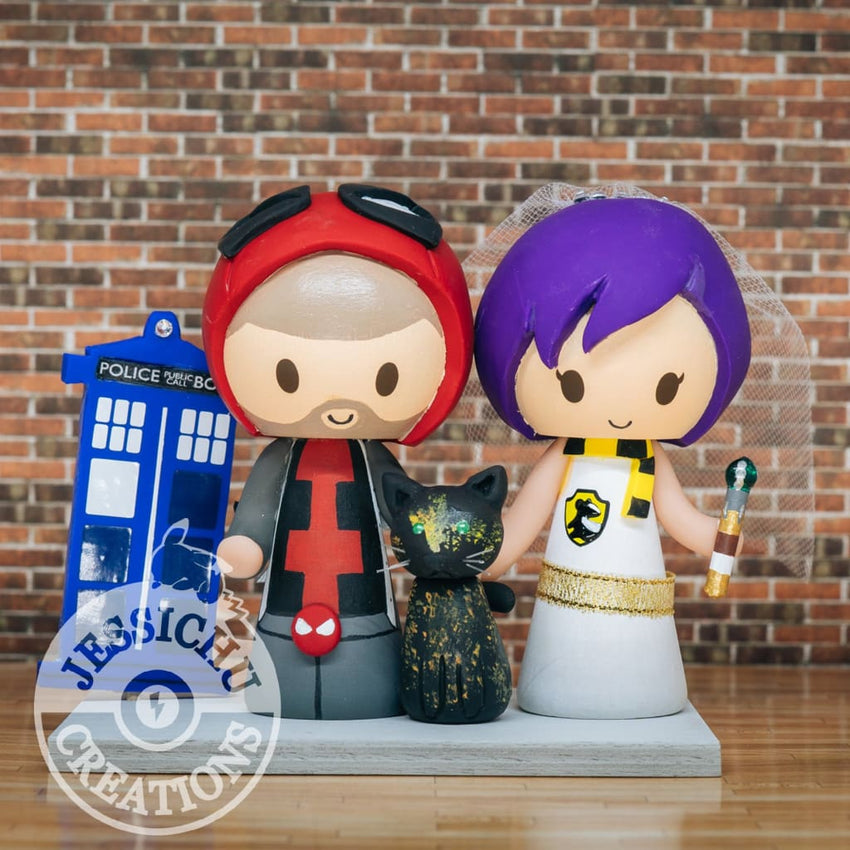 Open Hood Deadpool Groom and Hufflepuff Bride with Tardis Wedding Cake Topper | Marvel x Harry Potter | Jessichu Creations