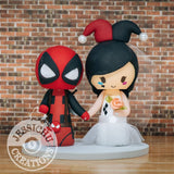 "Deadpool Groom and Harley Quinn ""Margot Robbie"" Bride Wedding Cake Topper 