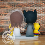 Batman Groom and Gryffindor Bride with Wolverine and Rapunzel Children Wedding Cake Topper | DC x Harry Potter x Marvel x Disney | Jessichu Creations
