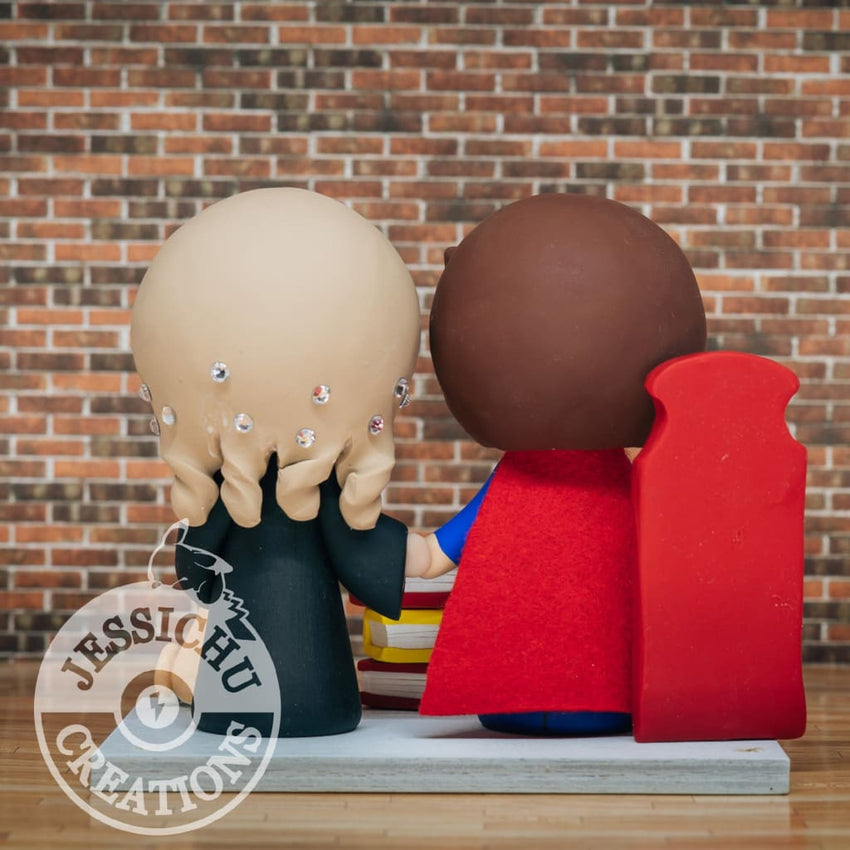 Superman Groom and Gryffindor Bride Wedding Cake Topper | DC x Harry Potter | Jessichu Creations