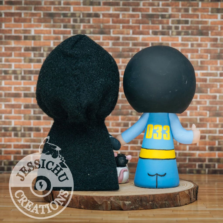 Vault Boy Groom and Nightingale Bride Wedding Cake Topper | Fallout Boy x Skyrim | Jessichu Creations