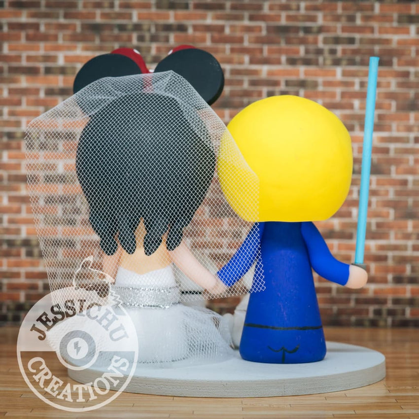 Handsome Jedi Groom and Minnie Mouse Bride Wedding Cake Topper | Star Wars x Disney | Jessichu Creations