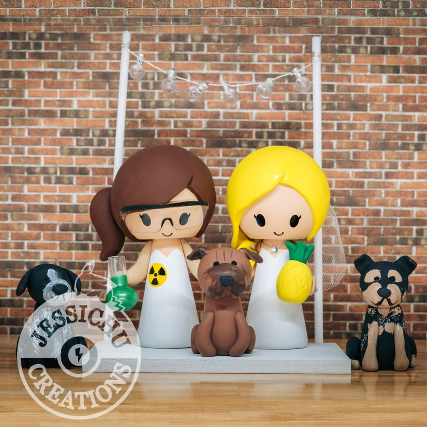 Scientist and Pineapple Lover LGBT Brides Custom Wedding Cake Topper | Jessichu Creations