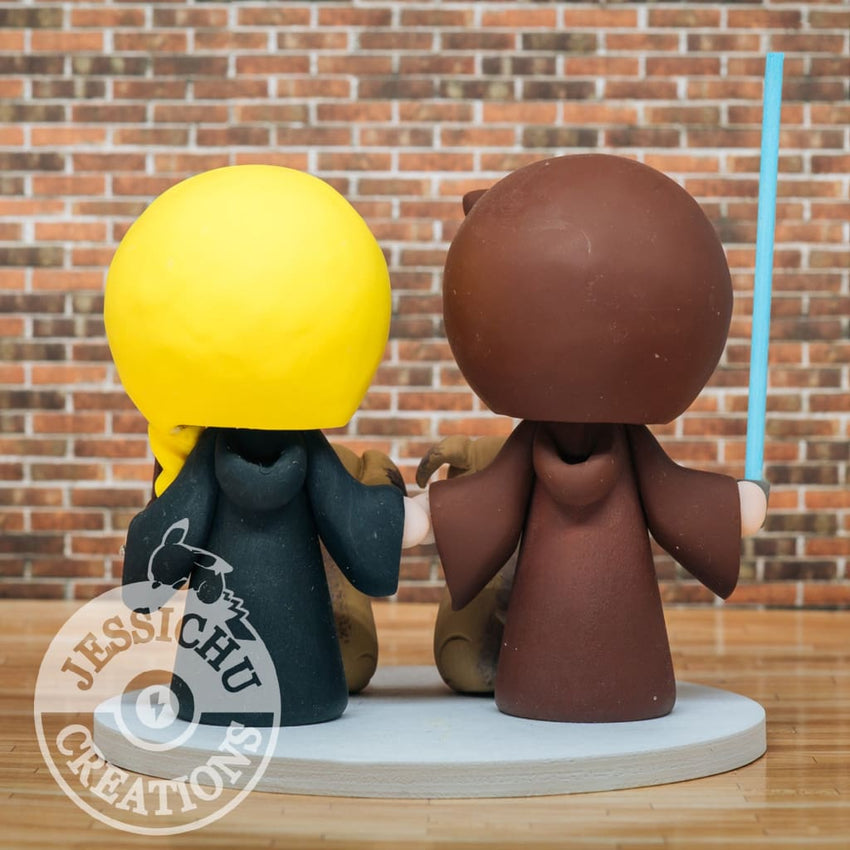 Jedi Groom and Gryffindor Bride Wedding Cake Topper | Star Wars x Harry Potter | Jessichu Creations