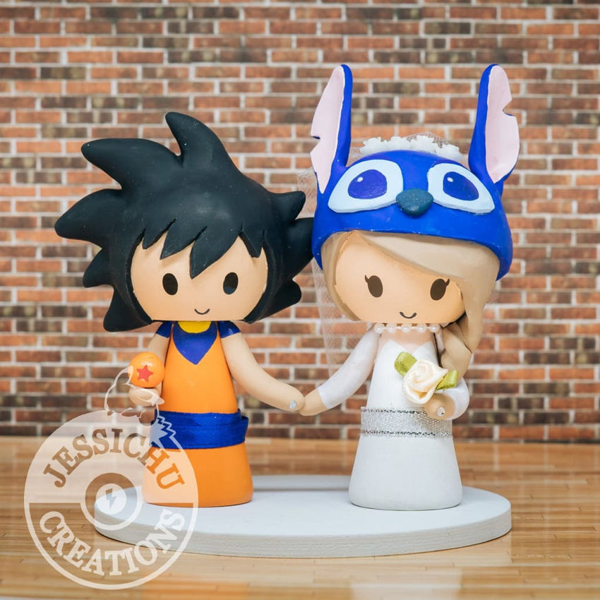 Goku Groom and Stitch Bride Wedding Cake Topper | Dragon Ball Z x Disney | Jessichu Creations