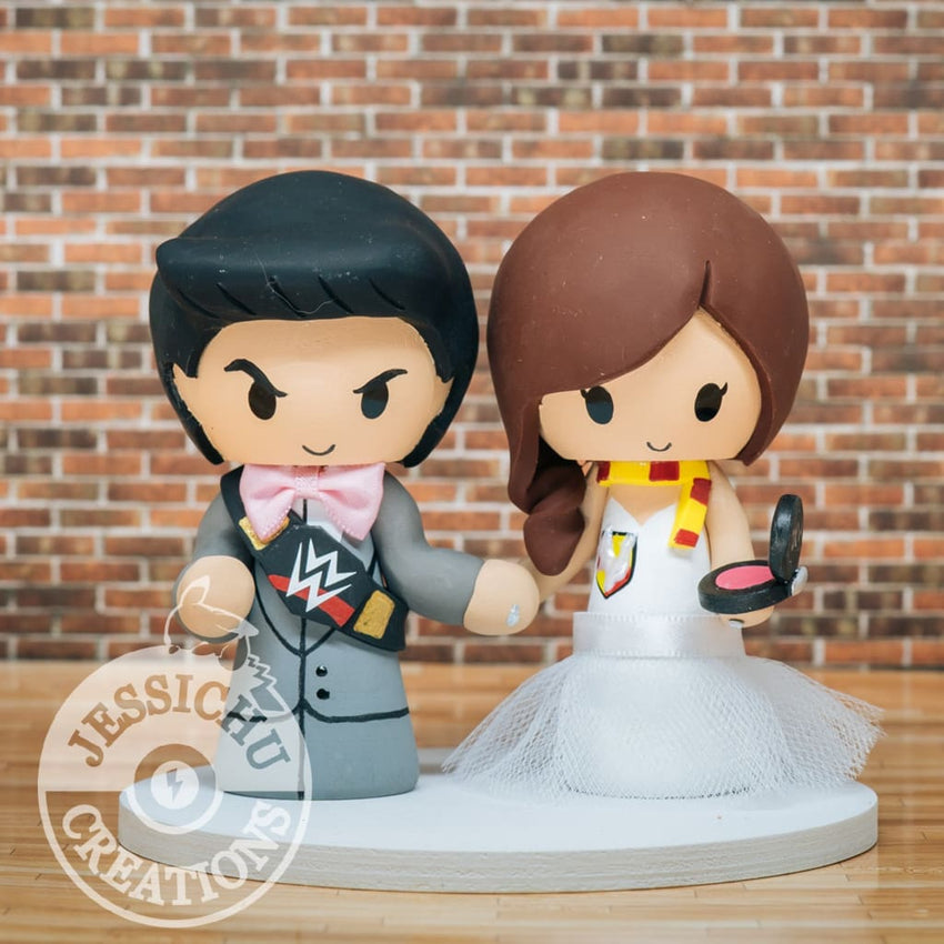 The Rock Groom and Gryffindor Makeup Artist Bride Wedding Cake Topper | WWE x Harry Potter | Jessichu Creations