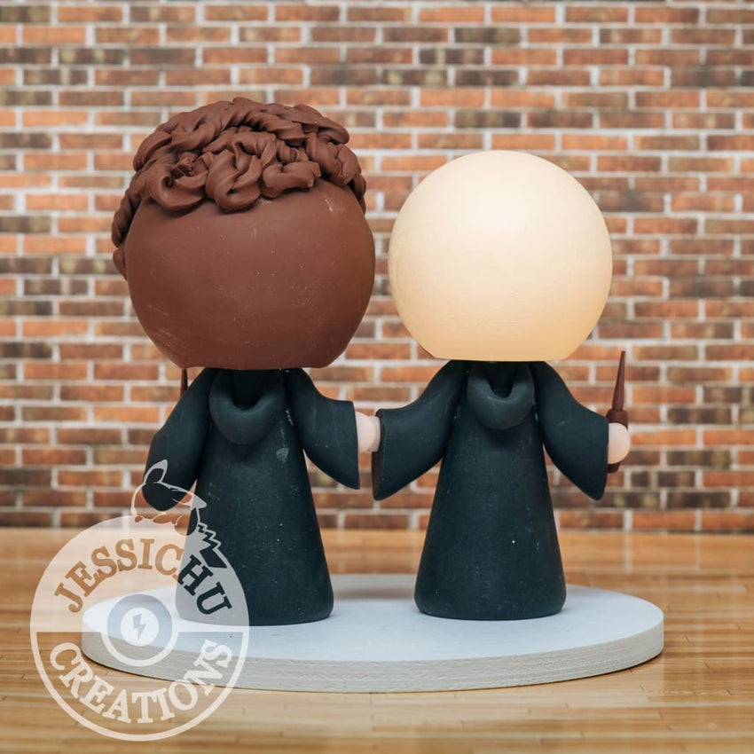 Harry Potter Couple Slytherin and Ravenclaw Wedding Cake Topper | Jessichu Creations