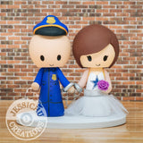 Police Office Groom and Dallas Cowboy Bride Custom Wedding Cake Topper | Jessichu Creations