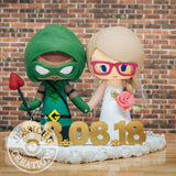 "John Diggle Green Arrow and Lyla ""Harbinger"" Michaels Wedding Cake Topper 