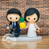 Hawaiian Groom and Pretty Bride Wedding Cake Topper | Jessichu Creations