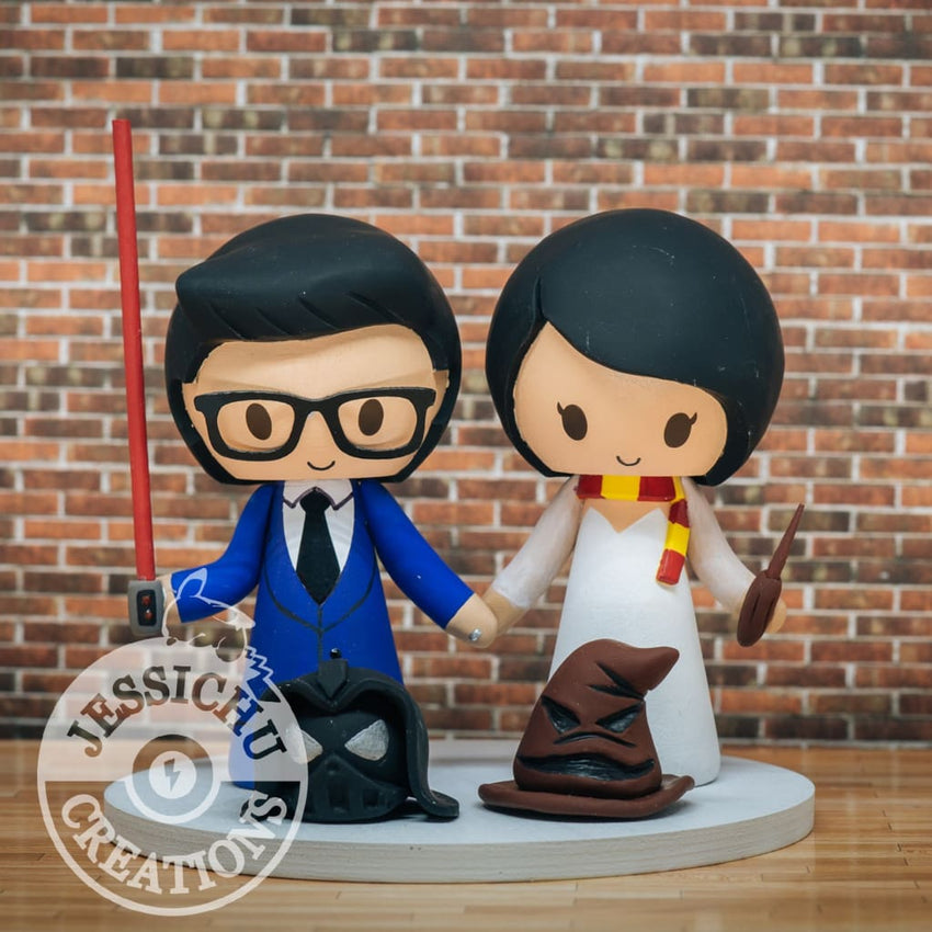 Darth Vader and Slytherin with Sorting Hat Wedding Cake Topper | Star Wars x Harry Potter | Jessichu Creations