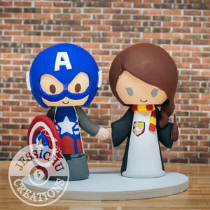 Captain America and Harry Potter Wedding Cake Topper | Marvel x HP | Jessichu Creations