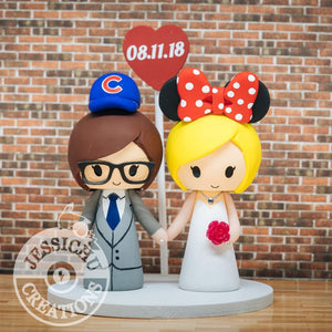 Cubs Fan and Minnie Mouse Brides Wedding Cake Topper | Baseball x Disney | Jessichu Creations