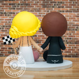 Car Racer Groom and Pretty Bride Wedding Cake Topper | Jessichu Creations