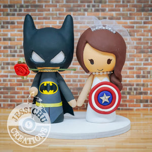 Batman and Captain America Wedding Cake Topper | DC x Marvel | Jessichu Creations