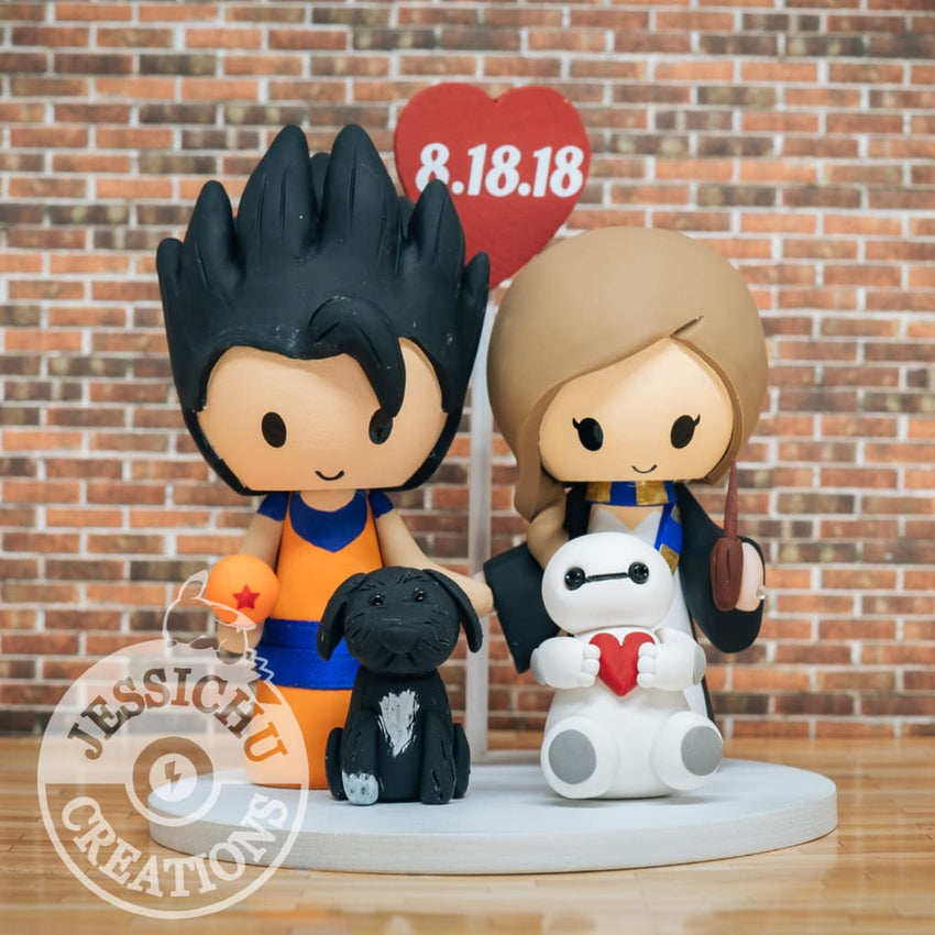 Gohan and Ravenclaw Wedding Cake Topper | Dragon Ball Z x Harry Potter | Jessichu Creations