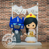 Optimus Prime Groom and Wonder Woman Bride Wedding Cake Topper | Transformers x DC | Jessichu Creations