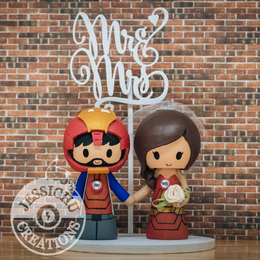 Ironman Groom and Iron Woman Bride Wedding Cake Topper | Marvel x Avengers | Jessichu Creations